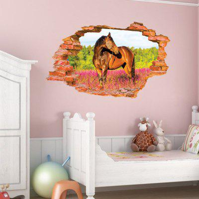 Buy COLORMIX DSU Creative Ferghana Horse 3D Wall Sticker Wallpaper for $4.38 in GearBest store