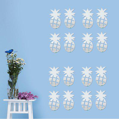 12PCS Pineapple Design Mirror Wall Sticker