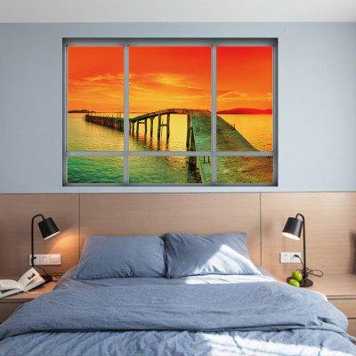 YM1027 3D Landscape of Sea Sunset Wall Sticker