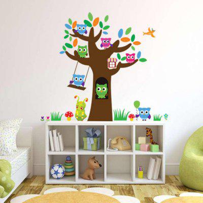 Cute Wise Owls Tree Decorative Wall Sticker