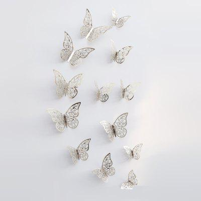 Buy SILVER YS 44 3D Mirror Butterfly Style Wall Sticker 12PCS for $5.38 in GearBest store