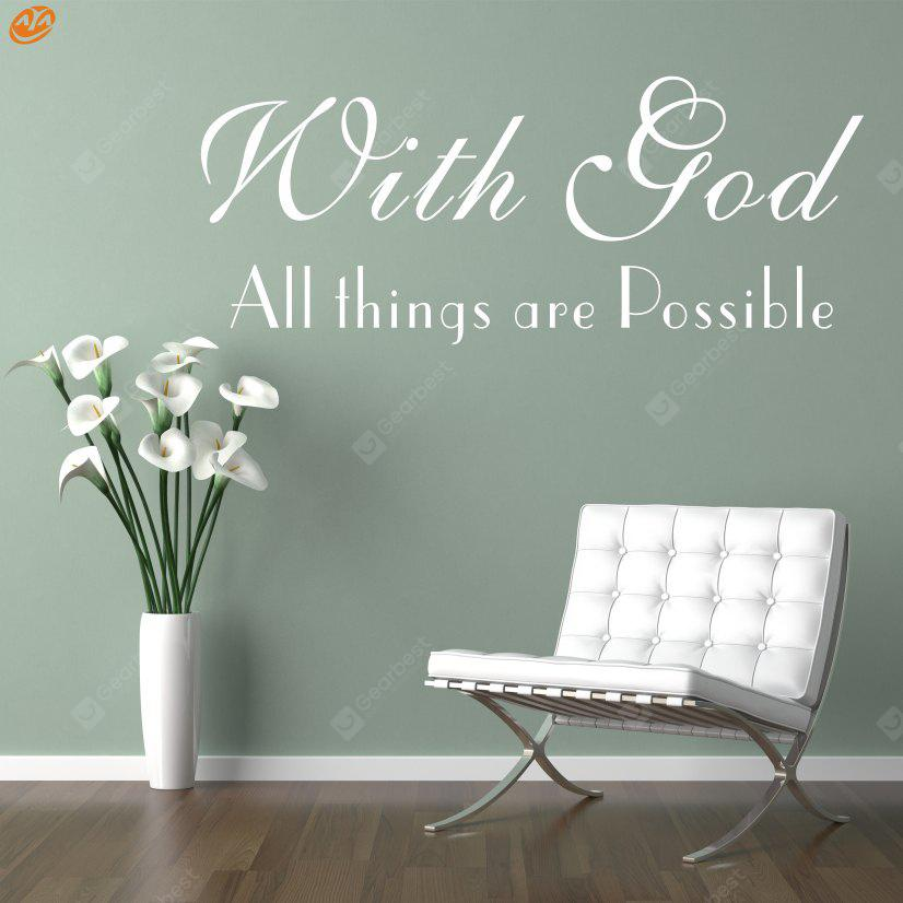 Buy AY - 280 Creative DIY English Decorative Wall Sticker WHITE