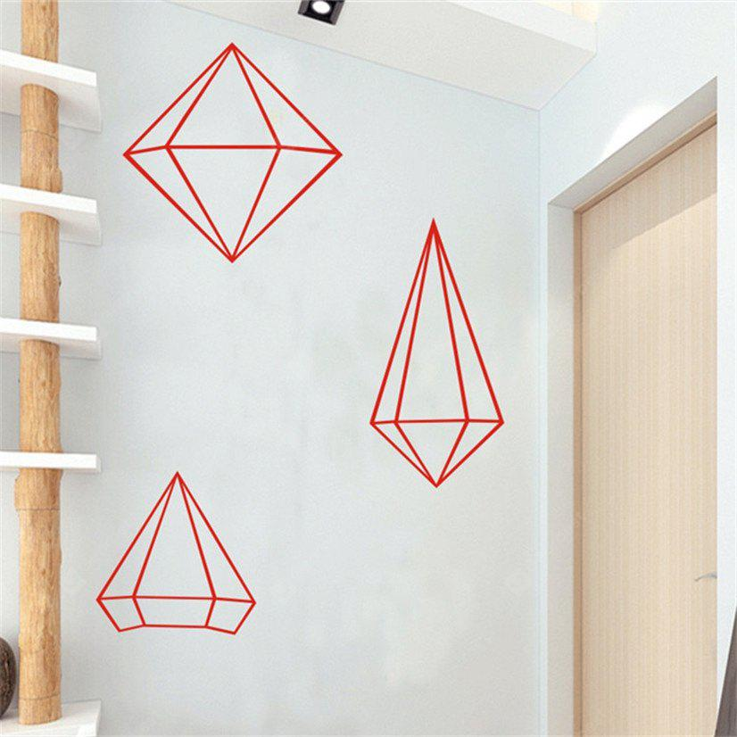 Buy AY - 368 Creative DIY Geometric Style Wall Sticker RED