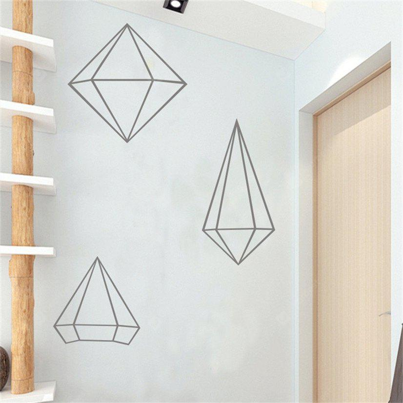 Buy AY - 368 Creative DIY Geometric Style Wall Sticker GRAY