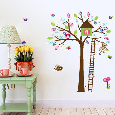 DSU Deer and Owl Cartoon Wall Sticker
