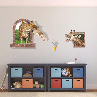 3D Funny Giraffe Wall Sticker