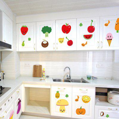 DSU Creative Fruits Design Wall StickerWall Stickers<br>DSU Creative Fruits Design Wall Sticker<br><br>Brand: DSU<br>Function: Decorative Wall Sticker<br>Material: Vinyl(PVC), Self-adhesive Plastic<br>Package Contents: 1 x Sticker Set<br>Package size (L x W x H): 60.00 x 4.00 x 4.00 cm / 23.62 x 1.57 x 1.57 inches<br>Package weight: 0.1100 kg<br>Product size (L x W x H): 45.00 x 60.00 x 0.10 cm / 17.72 x 23.62 x 0.04 inches<br>Product weight: 0.0700 kg<br>Subjects: Others<br>Suitable Space: Bedroom,Hallway,Hotel,Kids Room,Kitchen,Living Room<br>Type: Plane Wall Sticker
