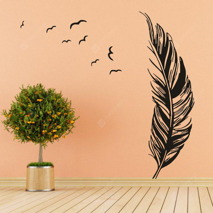 Buy DIY Feather Shape Wall Sticker BLACK