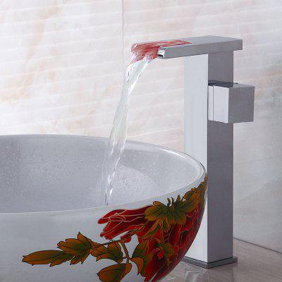 Electroplating  Waterfall Single Handle LED Color Changing Bathroom Sink Faucet