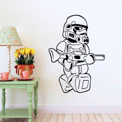 DSU Creative Cartoon Gunner Wall Sticker WallpaperWall Stickers<br>DSU Creative Cartoon Gunner Wall Sticker Wallpaper<br><br>Brand: DSU<br>Function: Decorative Wall Sticker<br>Material: Vinyl(PVC), Self-adhesive Plastic<br>Package Contents: 1 x Sticker<br>Package size (L x W x H): 60.00 x 6.00 x 6.00 cm / 23.62 x 2.36 x 2.36 inches<br>Package weight: 0.2500 kg<br>Product size (L x W x H): 58.00 x 80.70 x 0.10 cm / 22.83 x 31.77 x 0.04 inches<br>Product weight: 0.1800 kg<br>Quantity: 1<br>Subjects: Movie Star<br>Suitable Space: Bedroom,Dining Room,Kids Room,Living Room<br>Type: Plane Wall Sticker