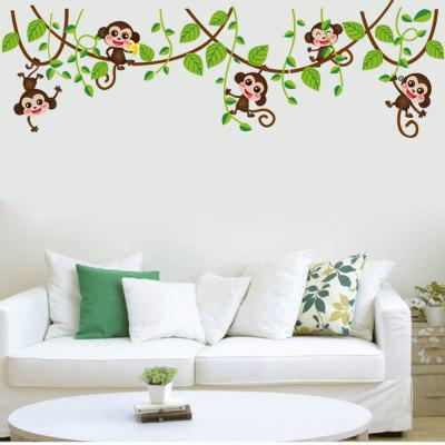 DSU Monkey Climbing Tree Design Wall Sticker
