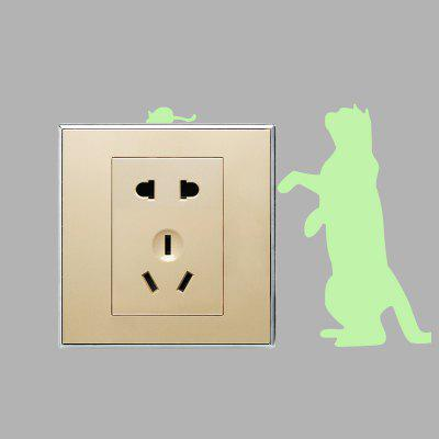 Creative Cat Catches Mouse Luminous Switch StickerWall Stickers<br>Creative Cat Catches Mouse Luminous Switch Sticker<br><br>Function: Light Switch Stickers<br>Material: Self-adhesive Plastic, Vinyl(PVC)<br>Package Contents: 1 x Sticker<br>Package size (L x W x H): 16.00 x 4.00 x 4.00 cm / 6.3 x 1.57 x 1.57 inches<br>Package weight: 0.0260 kg<br>Product size (L x W x H): 17.50 x 14.00 x 0.10 cm / 6.89 x 5.51 x 0.04 inches<br>Product weight: 0.0050 kg<br>Suitable Space: Bathroom,Bedroom,Kids Room,Kitchen,Living Room<br>Type: Plane Wall Sticker