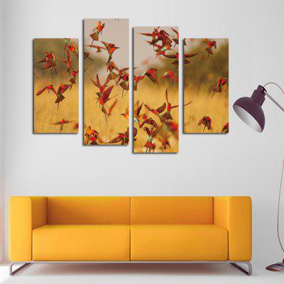 4PCS Red Birds Wall Decor for Home Decoration