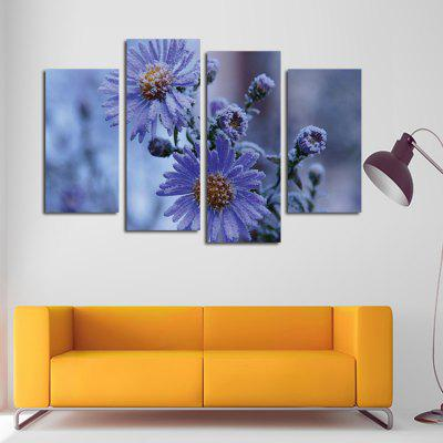 4PCS Print Snow Daisy Wall Decor for Home Decoration