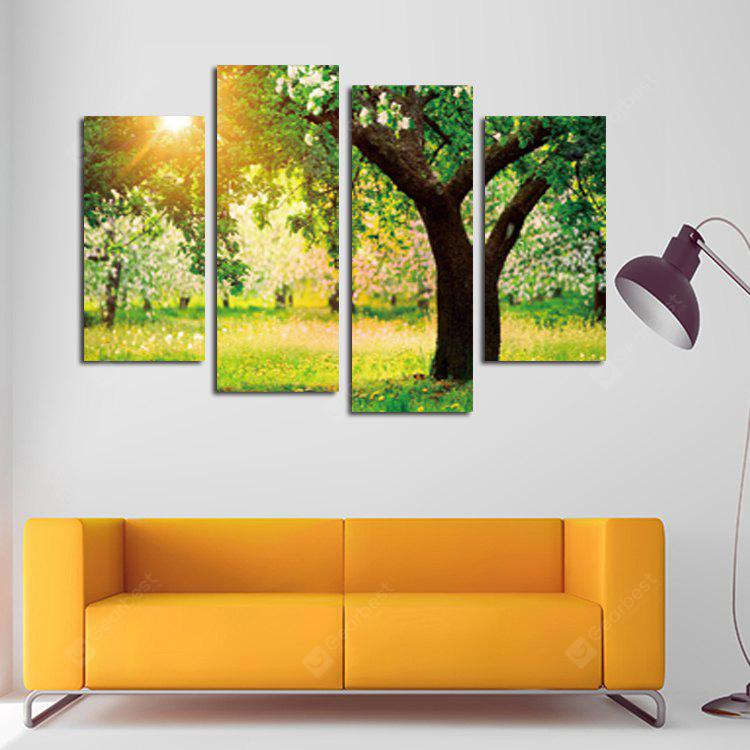 4PCS Print Sunlight and Trees Wall Decor Home Decoration