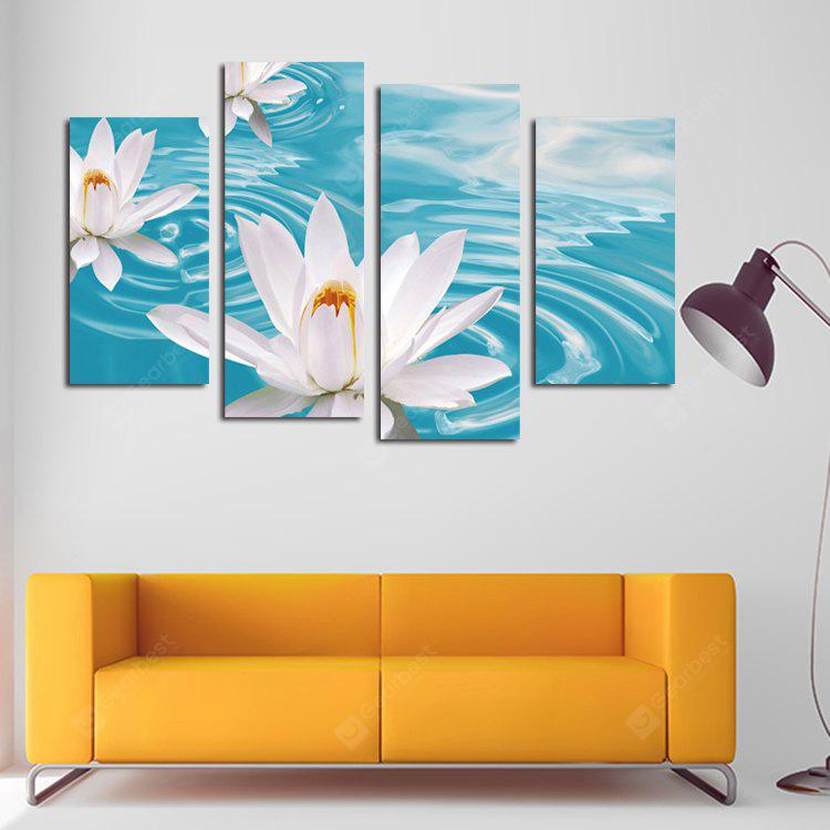 4PCS Print Lotus Wall Decor for Home Decoration