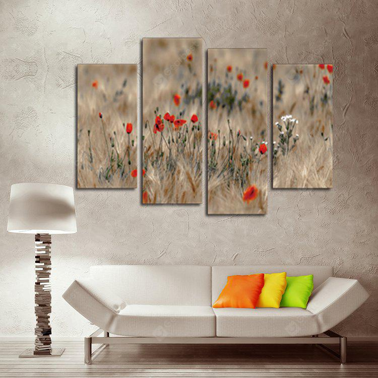 4PCS Print Red Flowers Wall Decor for Home Decoration