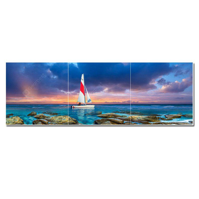 Jingsheng 3PCS Canvas Sailboat Modern Print Wall Decor