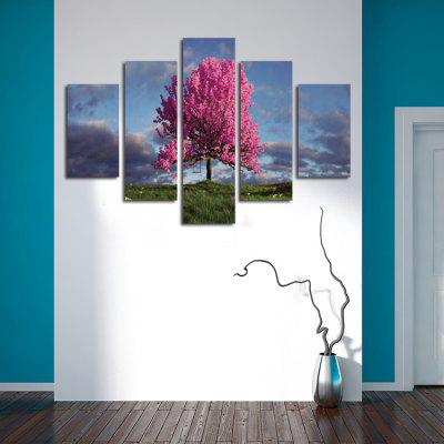 5PCS Pink Tree Printing Canvas Wall Decoration