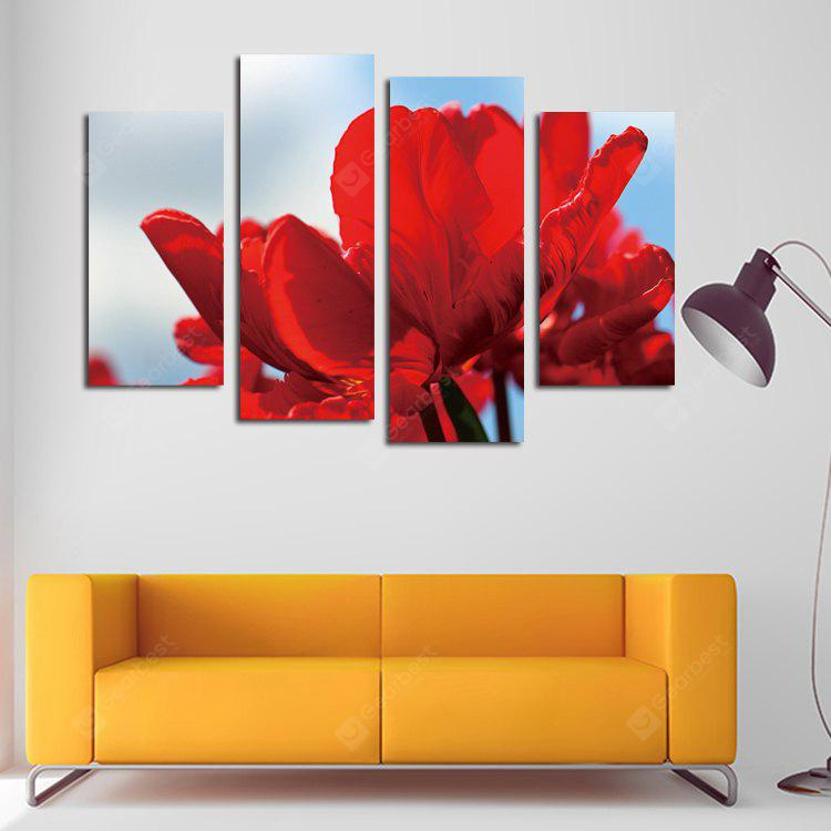 4PCS Print Red Flower Wall Decor for Home Decoration