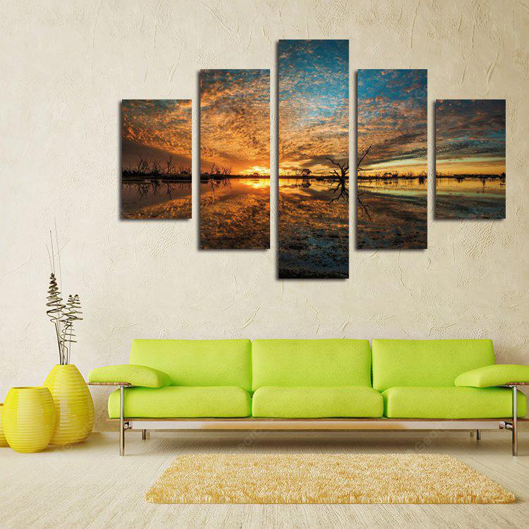 5PCS Red Glow From the Sun Printing Canvas Wall Decoration
