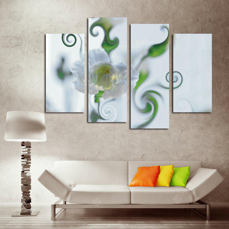 4PCS Printed White Carnation Paint Canvas Print Room Decor