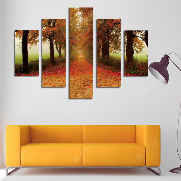 5PCS Print Maple Leaf Avenue Wall Decor for Home Decoration