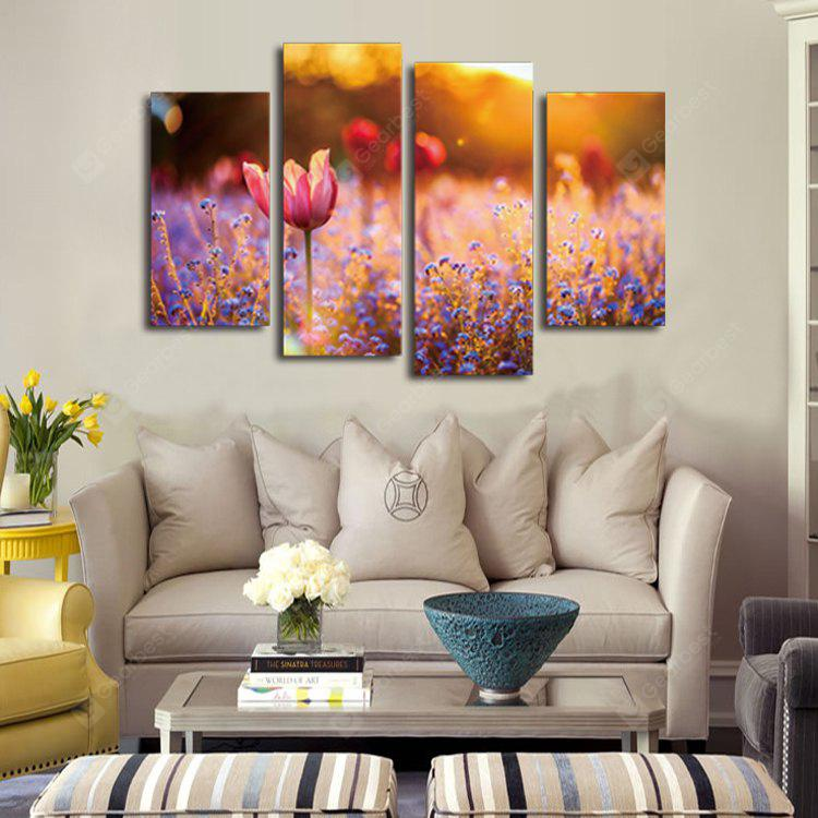 4PCS Modern Print Lavender Tulip Wall Decor Home Decoration