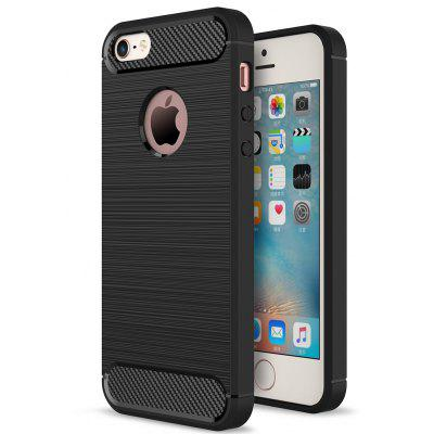 ASLING Carbon Fiber TPU Soft Case Cover for iPhone 5 / 5S / SE