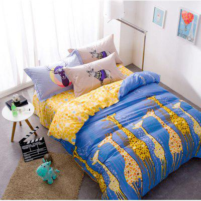 4-piece Bedding Set 100 Percent Cotton Giraffes Pattern