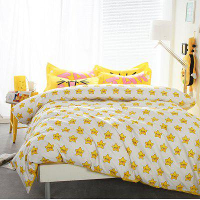 4-piece Bedding Set 100 Percent Cotton Smiling Stars Pattern