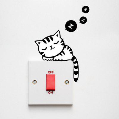 Home Snooze Cat Style Switch Wall Sticker
