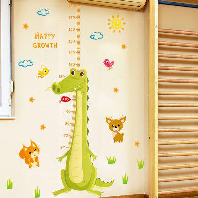 Creative DIY Removable Cartoon Crocodile Decal Height Sticker