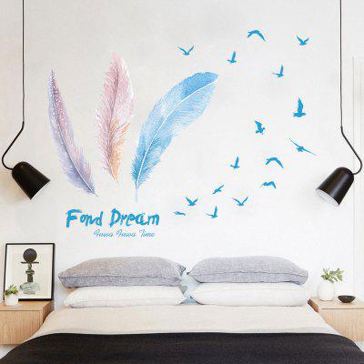 Creative DIY Removable Pretty Feather Decal Wall Sticker
