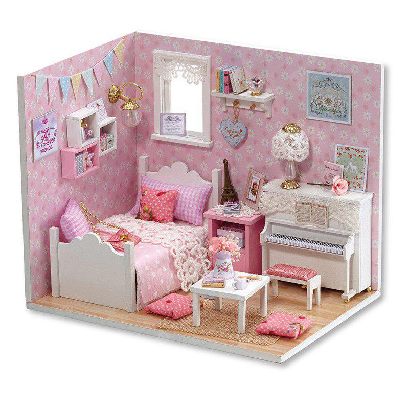 DIY Pretend Play Wooden Dollhouse Bedroom Model