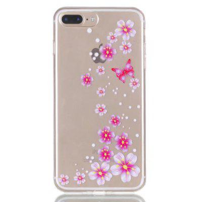 Buy CLEAR LIGHT PINK Pink Flower Style Design TPU Phone Case for iPhone 7 Plus for $2.88 in GearBest store