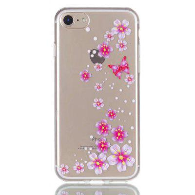 Buy CLEAR LIGHT PINK Pink Flower Style Design TPU Soft Phone Case for iPhone 7 for $2.88 in GearBest store