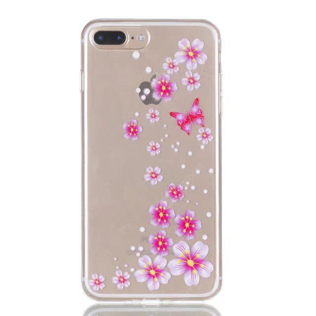 CLEAR LIGHT PINK Pink Flower Style Design TPU Phone Case for iPhone 7 Plus