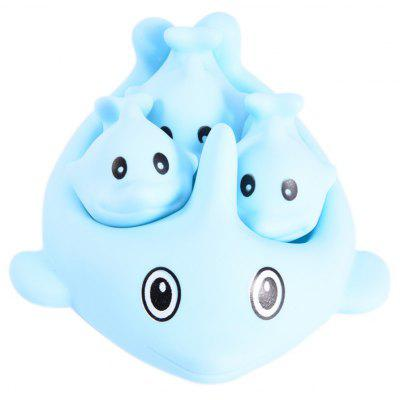 4pcs Squeeze Squeak Swimming Bath Toys of Blue Dolphin