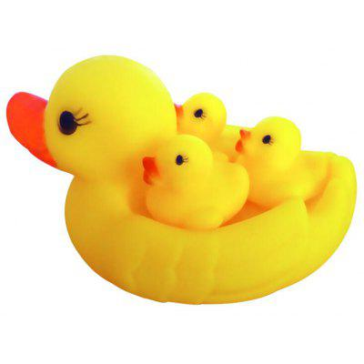 4pcs Squeak Swimming Bath Toy of Yellow Duck