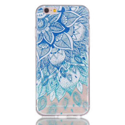 Soft TPU Blue Leaves Theme Painted Back Cover for iPhone 6 Plus / 6S Plus