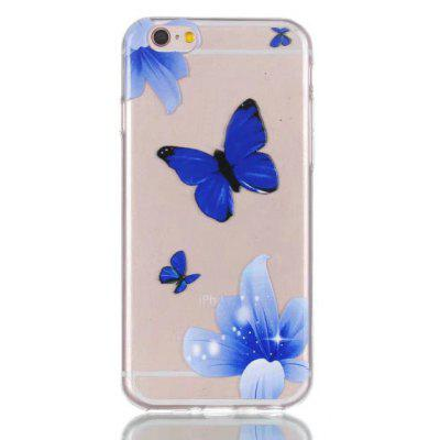 Soft TPU Blue Butterfly Theme Painted Back Cover for iPhone 6 Plus / 6S Plus
