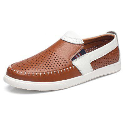 Business Breathable Hollow Slip On Leather Shoes