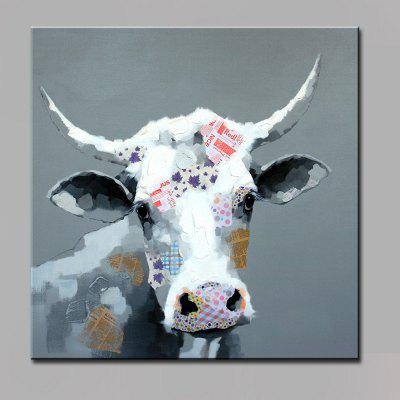 YHHP Colorful Cow Head Head Canvas Oil Painting