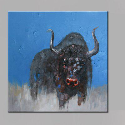 YHHP Black Bull Head Canvas Oil Painting