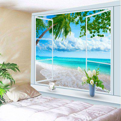 Buy LAKE BLUE Wall Hanging Art Decor Window Tree Beach Print Tapestry for $13.85 in GearBest store