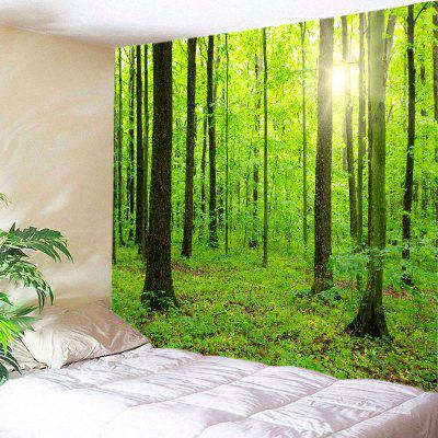 Buy GREEN Wall Hanging Art Sun Forest Print Tapestry for $22.30 in GearBest store