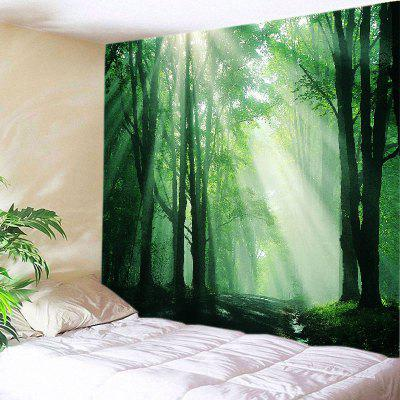 Buy GREEN Wall Hanging Art Decor Sunlight Forest Path Print Tapestry for $22.30 in GearBest store
