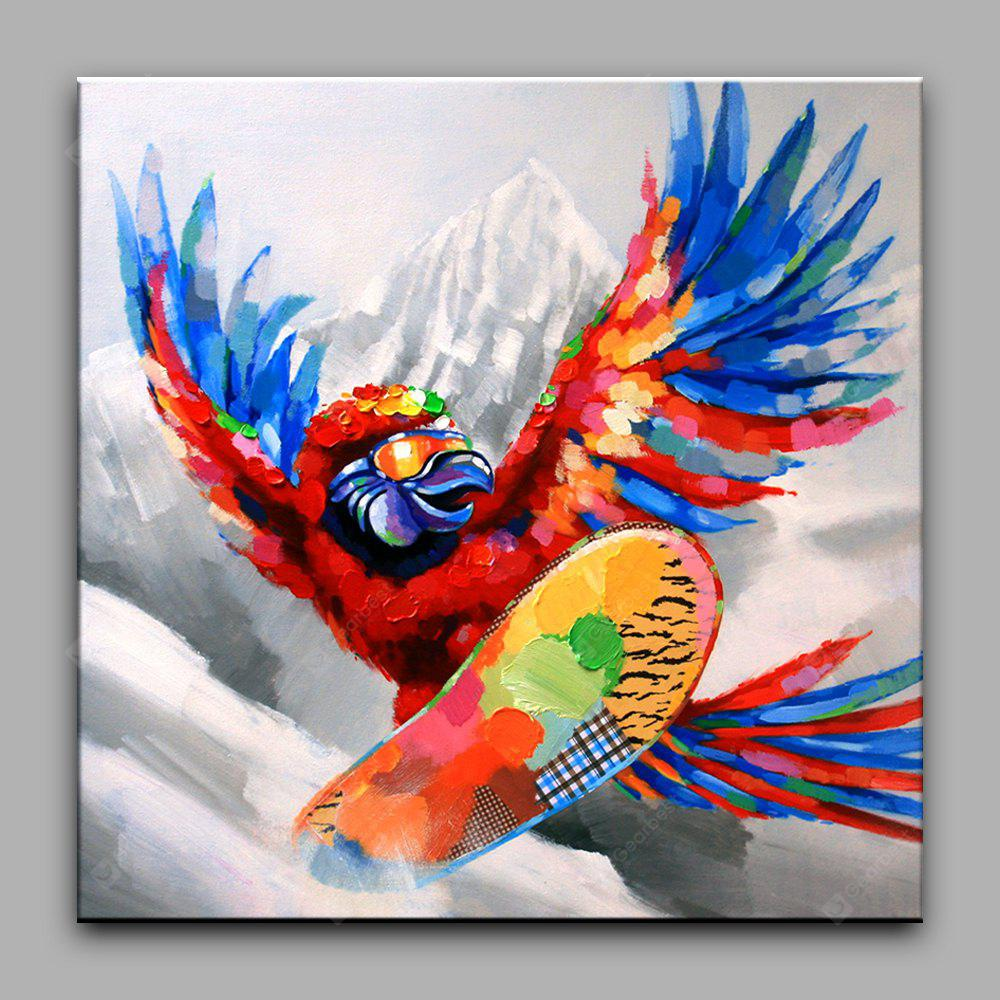 YHHP Skiing Parrot Canvas Oil Painting Modern Art