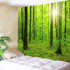 Wall Hanging Art Sun Forest Print Tapestry - GREEN